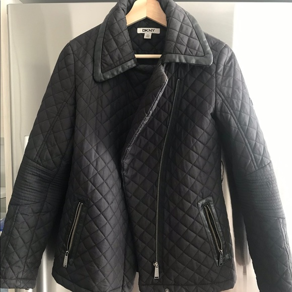 DKNY quilted winter coat with leather trim XS